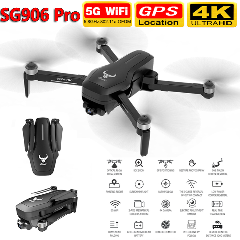 SG906 Pro Drone with Camera 4K HD Two-Axis Anti-Shake Self-Stabilizing Gimbal 5G WiFi GPS FPV RC Quadcopter Helicopter Toy VS F8