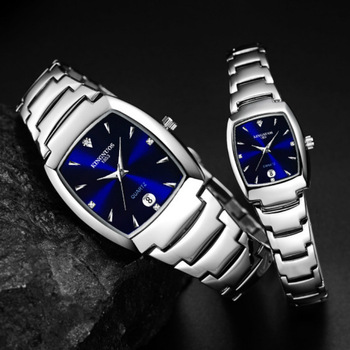 Full Steel Steel Rectangle Couple Watch Set