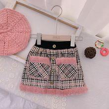Осенне-зимние юбки для девочек Одежда для маленьких девочек детская розовая клетчатая юбка-пачка мини-юбка с пуговицами и карманами бархатные короткие брюки