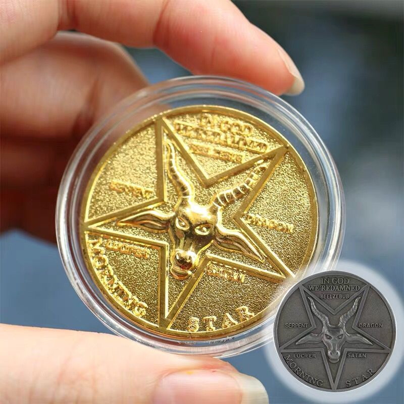 Lucifer Morning Star Coin Satanic Pentecostal Bage Coin Specie Cosplay Accessories Prop Cosplay Accessories Movie Costume