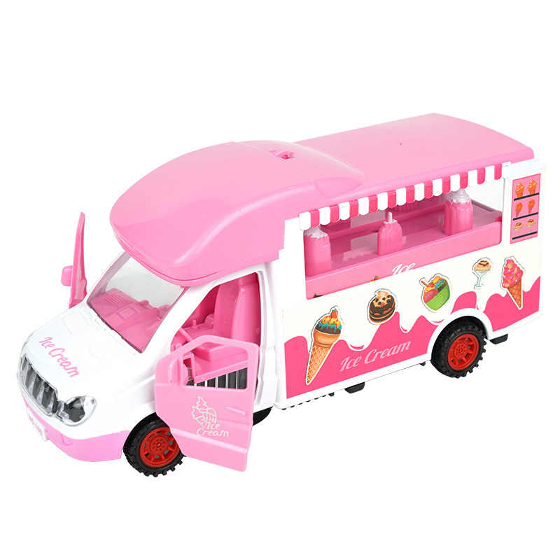 Los niños los niños Universal helado carro juguete chica y Chico-Apertura de la puerta brillante música modelo camiones de comida