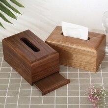 Caja de madera de pañuelos sólida cubierta vintage soporte para pañuelos de automóvil caja de papel higiénico rollo de papel de madera organizador de baño Decoración
