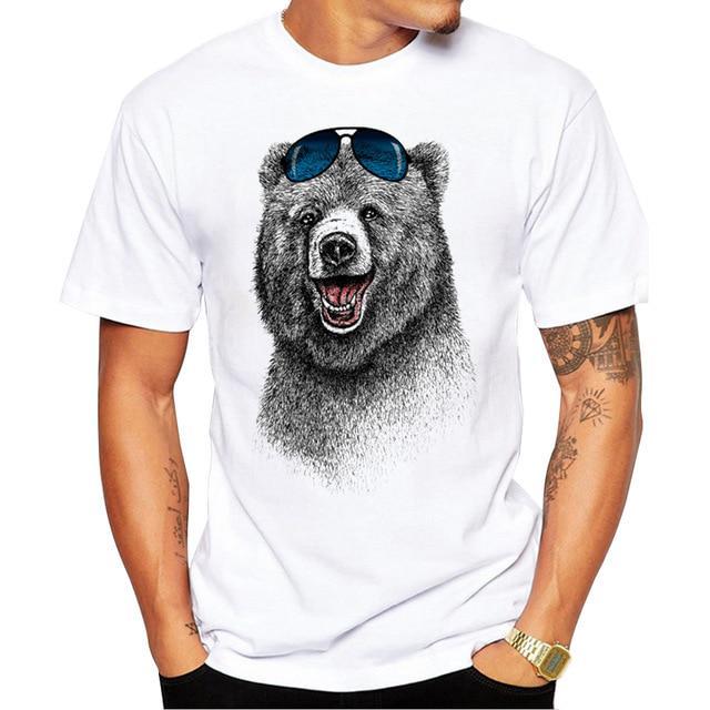 T Shirt Spoof Personality Vogue New Fashion Grizzly Bear T Shirt Mens Cotton T-shirts Tee Short Sleeve High Quality Boys Tshirt