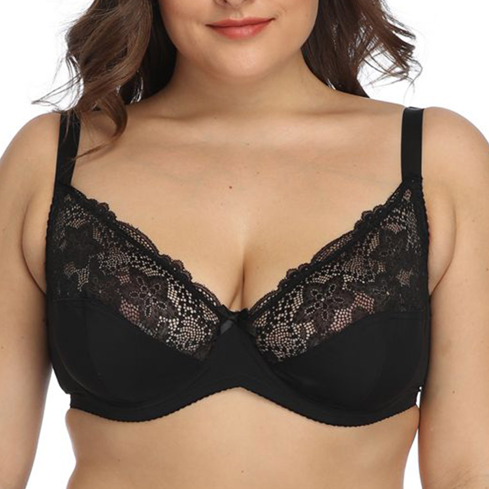 Womens Plus Size Lace Bra Non Padded Underwired Bralette Sexy Bras Lingerie Tops Large Brassiere 1