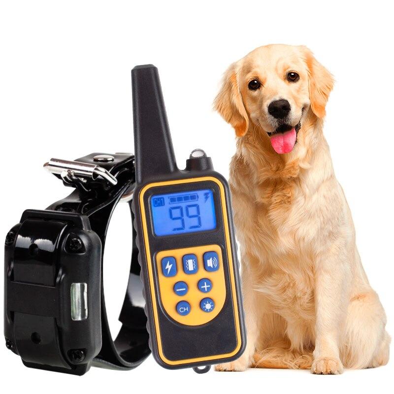 Электрический тренировочный ошейник для собак, с дистанционным управлением до 800 м, водонепроницаемый, перезаряжаемый с ЖК-дисплеем, универ...