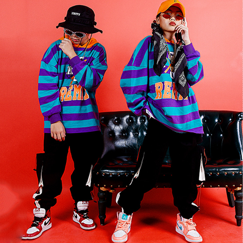 Hip Hop Costumes Boys Street Dance Set Children Striped Top Modern Performance Clothing Rave Outfit Girls Jazz Stage Wear DN4625