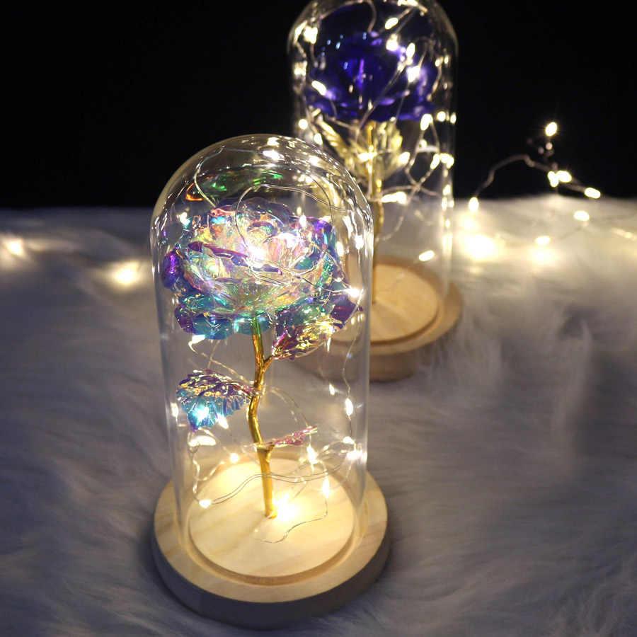 2020 الجمال والوحش زهرة الأبدية روز في قارورة ديكور زفاف صناعي الزهور في غطاء زجاجي لهدية عيد الحب