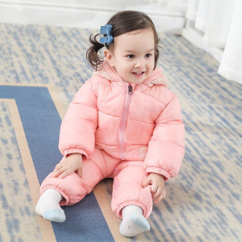2019 bébé Snowsuit hiver salopette barboteuses infantile garçons fille Plus velours One-pieces enfants cachemire costume vêtements chauds body