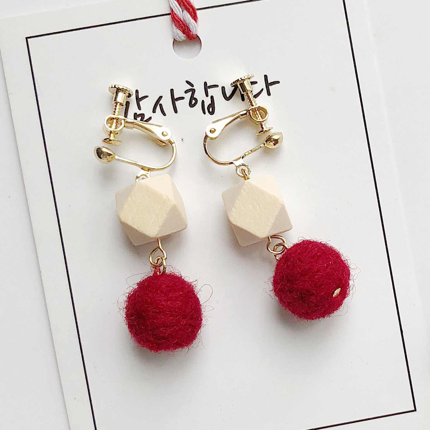 Wool Ball Pom Pom wooden Earrings for women PomPom Multicolor Temperament Concise earings fashion trendy summer jewelry 2019 new in Drop Earrings from Jewelry Accessories