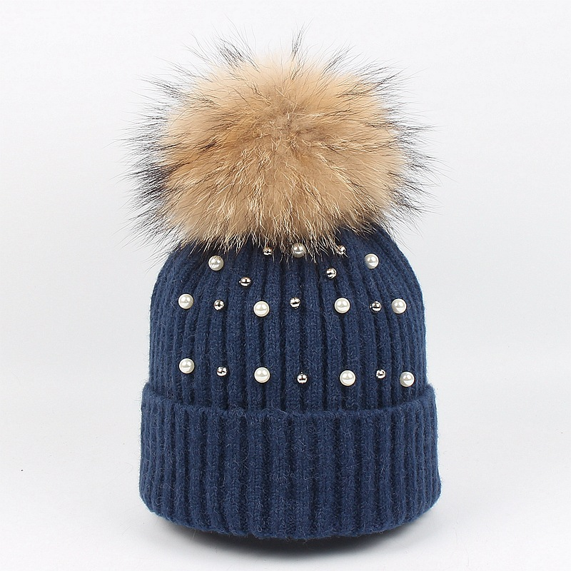 Big Real Fur Ball Winter hat Women Men knitted hat Warm Caps Fashion Skullies Beanies Casual Female Hat 2019 in Women 39 s Skullies amp Beanies from Apparel Accessories