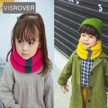 VISROVER/вязаный шарф-снуд для девочек и мальчиков, детский снуд с кольцом и бахромой, шарфы с петлей на шее, теплые шарфы, шейный платок