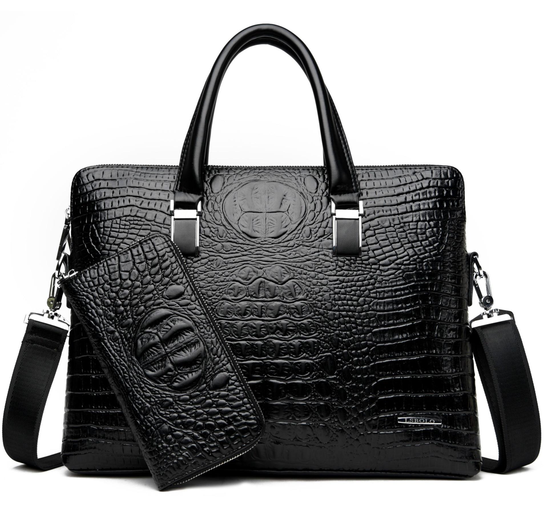 Men's Brand Crocodile Pattern Briefcases Designer Alligator PU Leather Handbag Business Office Laptop Bag Male Vintage Tote 2019