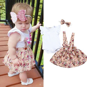 Новинка, брендовый комбинезон с цветочным рисунком для новорожденных, одежда для маленьких девочек, комбинезон, юбка, повязка на голову, Лет...