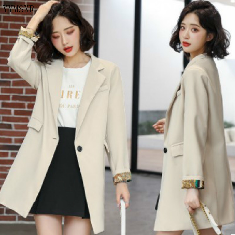 High-quality feminine jacket 2020 Korean version of the new slim solid color mid-length women's blazer Female Coat small suit