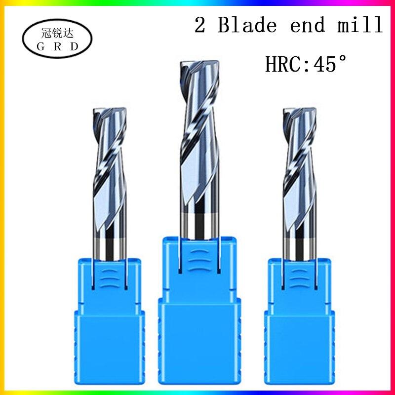 HRC45 2 Флейта концевая фреза 1,5 мм 1 ~ 12 мм 1 ~ 20 мм 6 мм 8 мм 12 мм 50L 60L 75L 80L 100L CNC Карбид металла фреза metall