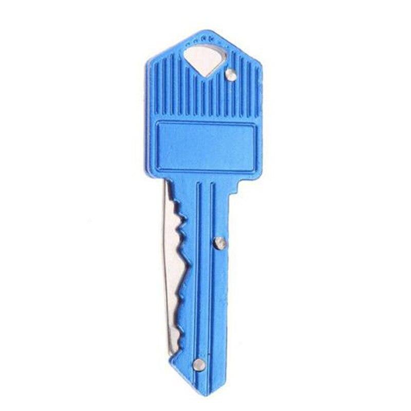 Мини-нож в виде ключа Тактический лагерь Открытый брелок складной открытие Открыватель Карманный Самообороны безопасности многофункциональный инструмент коробка для лезвий - Цвет: Blue