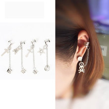 New 1pc stainless steel for Women Fashion Cool Punk Style Crosses Pendent Tassel Chain Ear Wrap Cuff Stud Earring Gifts(China)