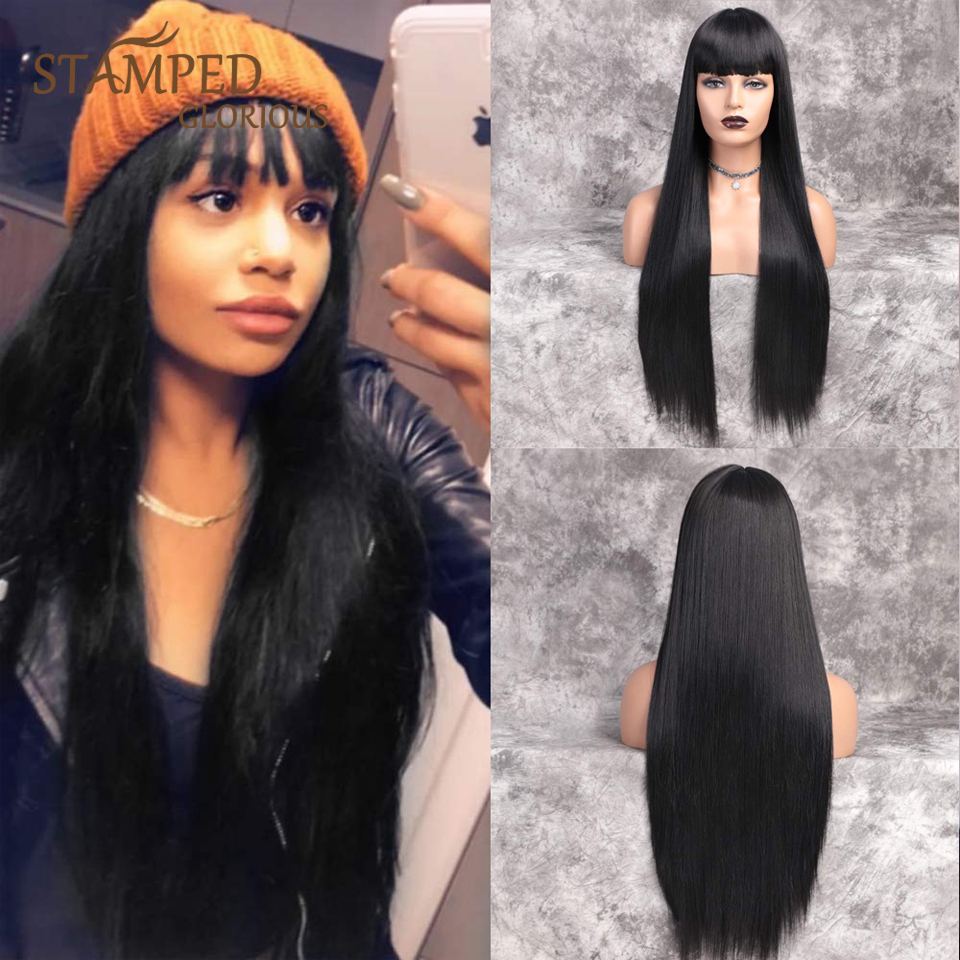 Stamped Glorious 30inches Straight Long Wig Black Wig With Bangs Heat Resistant Fiber Synthetic Wigs for Black Women