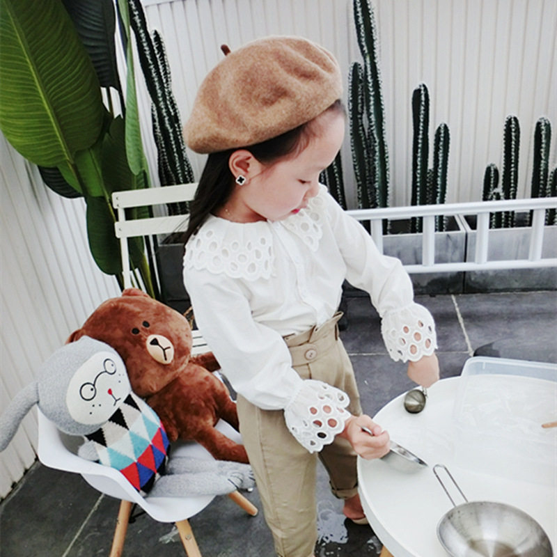 2019 Autumn New Arrival Girls Long Sleeve White Blouse Kids Lace Hollow Out Collar Tops Kids Pants Girls Long Sleeve Tops
