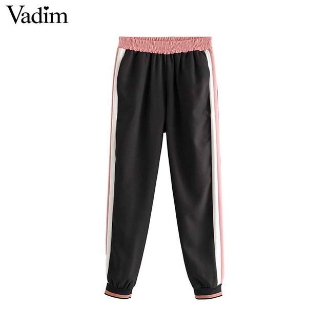 Vadim 女性エレガントなパッチワークサイドストライプ弾性ウエストポケット女性甘いファッション pantalones KB152