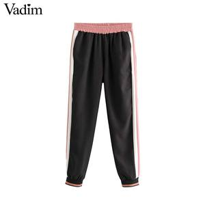Image 1 - Vadim women elegant casual pants patchwork side stripe elastic waist pockets female sweet fashion trousers pantalones KB152