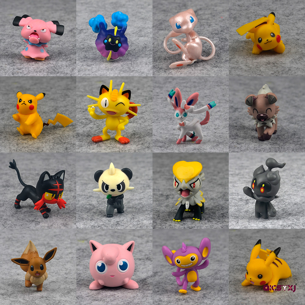 Pikachu Tiny Figure Toy Sylveon Mew Action Figure Psyduck Aipom Pancham Cosmog Model Snubbull Jigglypuff Meowth PVC Doll Decor