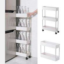 2/3/4 Tier Slim Storage Cart Mobile Shelving Unit Organizer Slide Out Storage Rolling Utility Cart Rack for Kitchen Bathroom