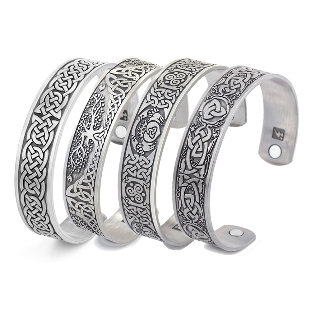 fishhook Tree of Life Celtic Knot Symbol Stainless Steel Health Care Magnetic Bangle Bracelet