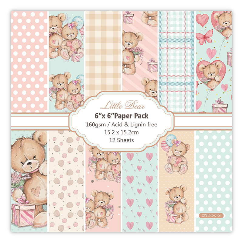 12pc Petit Ours Patterned Paper Scrapbooking Paper Pack Handmade Craft Paper Craft Background Pad