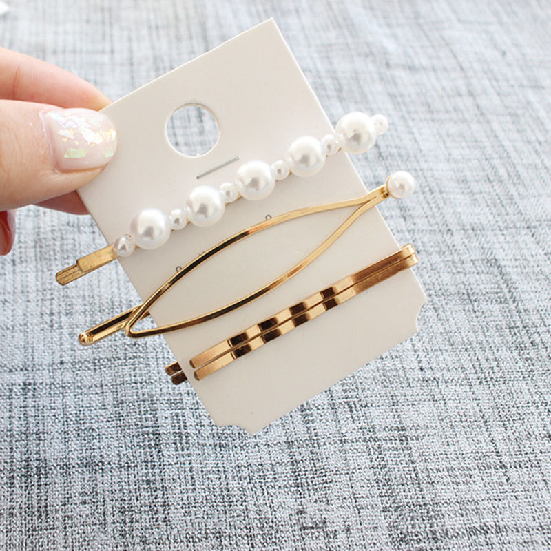 3 Pcs/set Pearl Metal Gold Color Hair Clip Bobby Pin Barrette Hairband Hairpin Headdress For Women Hair Accessories