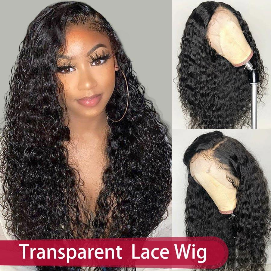 Rxy frente do laço perucas de cabelo humano 360 peruca frontal do laço encaracolado profundo 13x6 peruca dianteira do laço brasileiro remy perucas de humano para a mulher preto