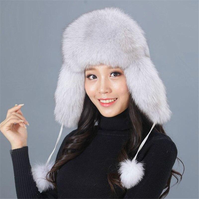 Real Fur Hat Women Ladies Fur Hats Real Raccoon Fur Hat Russian Fur Hat Grueso Caliente Orejas Moda Bombardero Fur Hat.