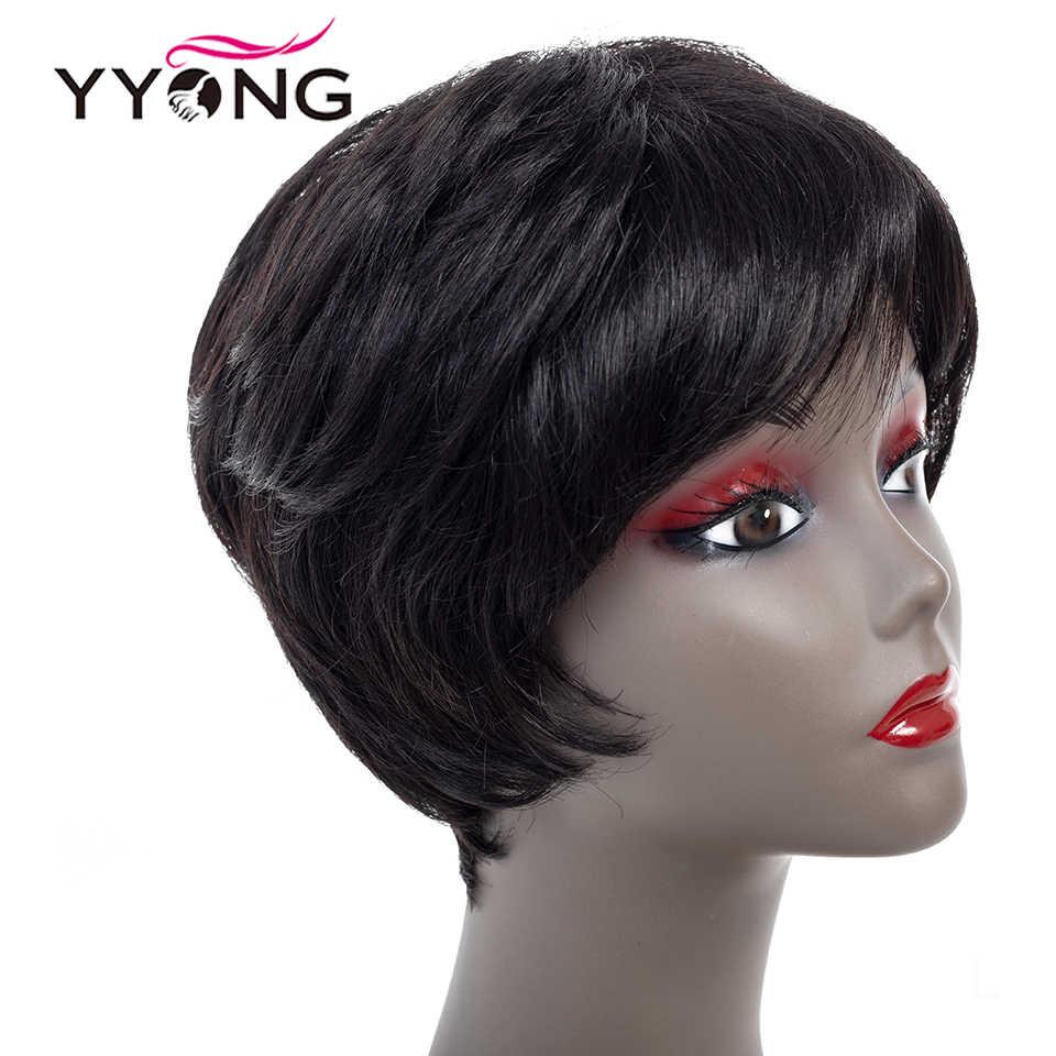 """Straigh peruki z ludzkich włosów dla czarnych kobiet nie Remy krótki pełna maszyna peruka kolor 1B Glueless brazylijska peruka 4 """"szybka dostawa"""