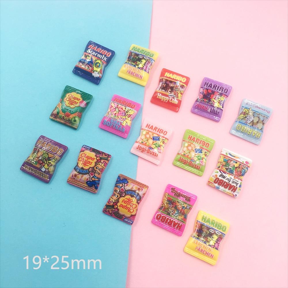 20Pcs Mini Cartoon Candy Flatback Resin Cabochon Simulation Fake Food Scrapbooking Fit Phone DIY Embellishments Accessories
