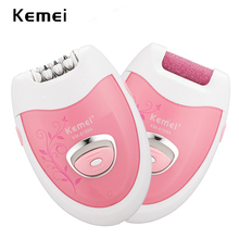 цена на kemei 2 in 1 rechargeable lady epilator hair shaver electric hair removal depilador callus dead skin remover foot care tool