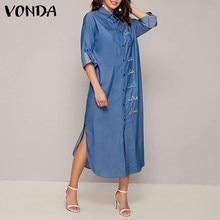 Boêmio demin midi vestido feminino manga comprida vestidos 2021 vonda casual lapela colarinho camisas férias plus size 5xl