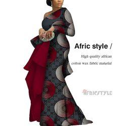 En 2020 robes africaines pour les femmes imprimer drapé robes longues droites Bazin Riche africain Ankara robes wy5762