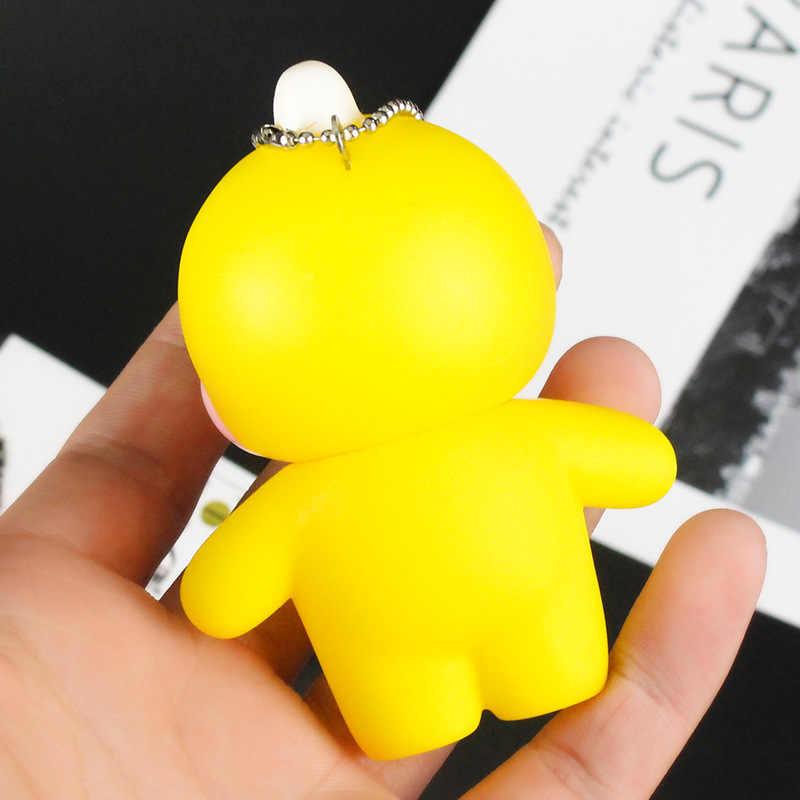 Flow dibujos animados ácido hialurónico pequeño pato amarillo llavero lindo rubor silicona pato muñeca llaveros PVC juguetes para niños anillo de llave