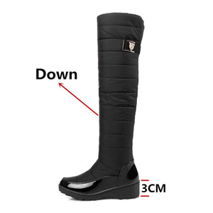 Image 2 - FEDONAS Fashion Women Winter Snow Boots Warm Fur Wedges High Heels Boots Sexy Tight High Long Shoes Woman Platforms High Boots