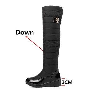 Image 2 - FEDONAS mode femmes hiver bottes de neige chaud fourrure cales talons hauts bottes Sexy serré haut longues chaussures femme plates formes bottes hautes