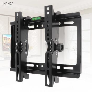 25KG 14-42 Cal regulowany stali nierdzewnej uchwyt ścienny na TV telewizor z płaskim ekranem obsługa ramek 15 stopni kąt nachylenia do telewizora monitor LCD LED