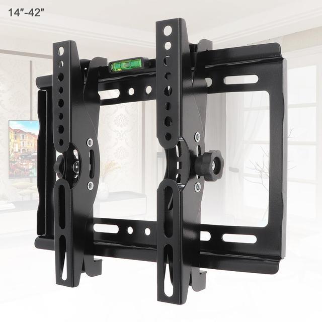25KG 14 42 Inch Adjustable Steel TV Wall Mount Bracket Flat Panel TV Frame Support 15 Degrees Tilt Angle for TV LCD LED Monitor