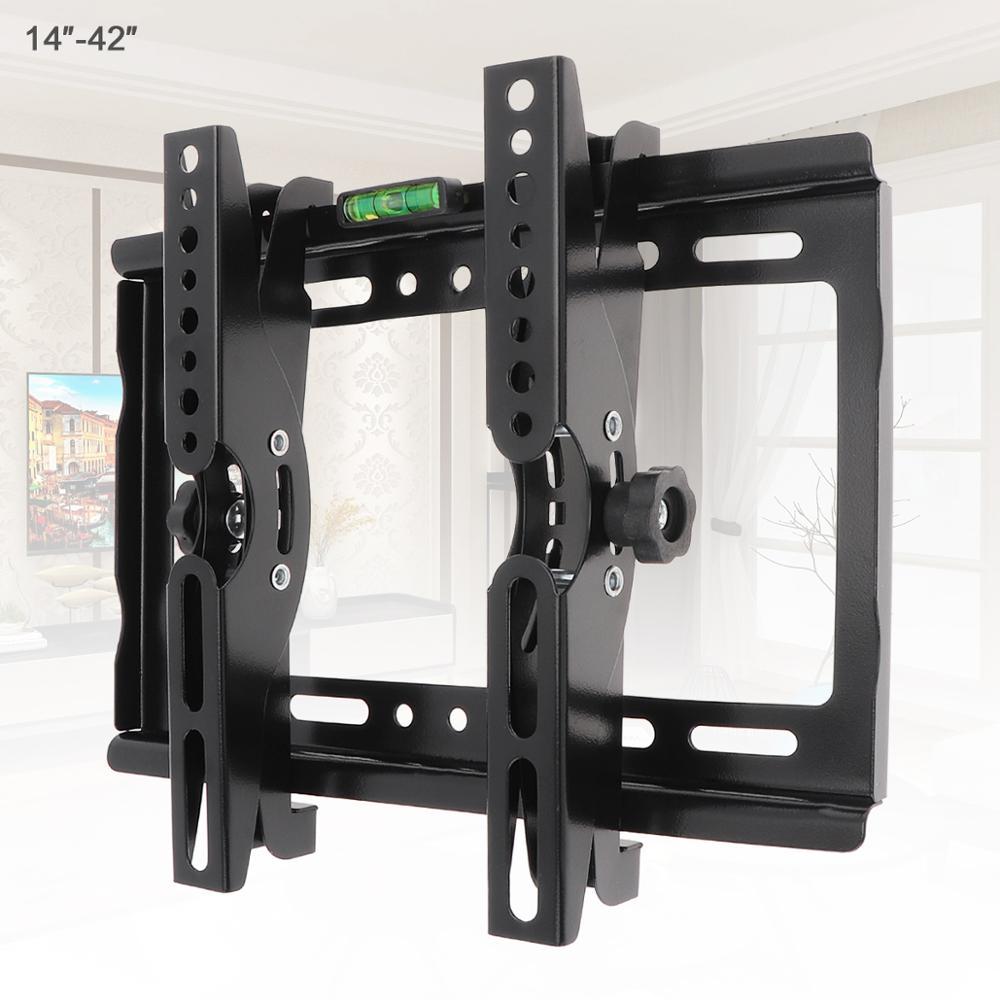 25KG 14-42 pouces réglable en acier TV Support de montage mural écran plat TV Support de cadre 15 degrés Angle d'inclinaison pour TV LCD moniteur LED