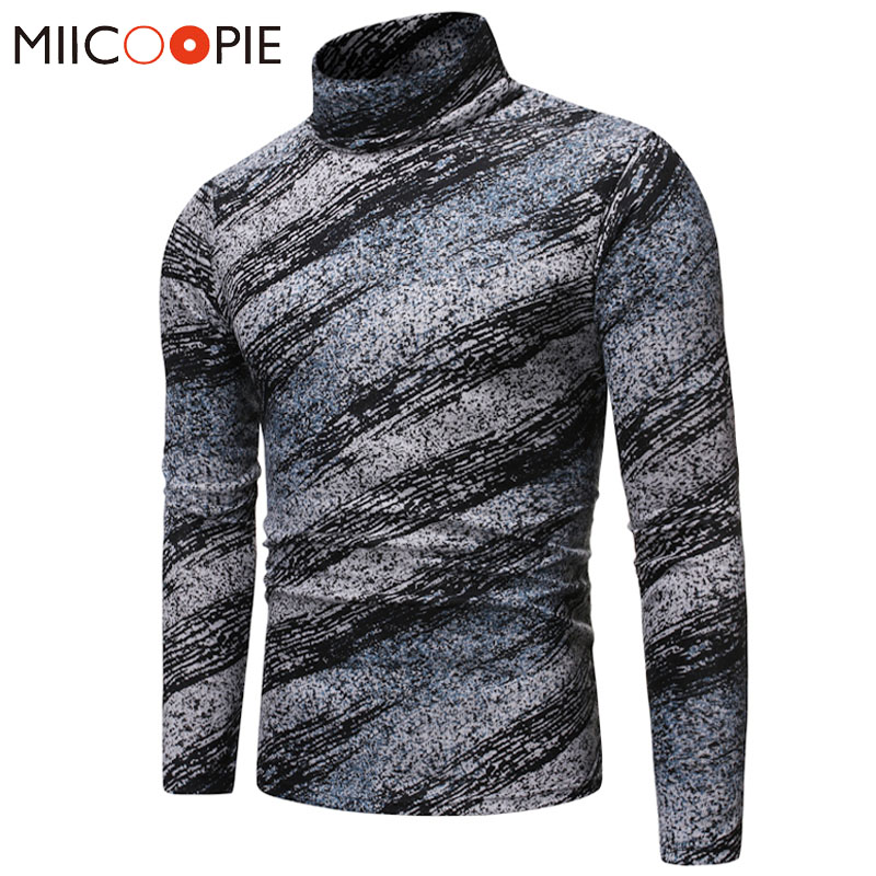 Turtleneck Sweaters Pullover Men 2019 Brand Slim Fit Striped Mens Christmas Sweater High Quality Warm Knitted Pullovers Jackets