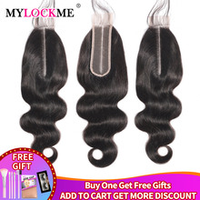 MYLOCKME Body Wave 2x6 Middle Part Closure Peruvian 100% Human Hair K Kim Remy Hair Straight Closure Natural Color For Women