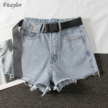 Fitaylor New Summer Women High Waist Black Blue Denim Shorts Casual Female Hole Solid Color Plus Size 2xl Jeans Shorts With Belt