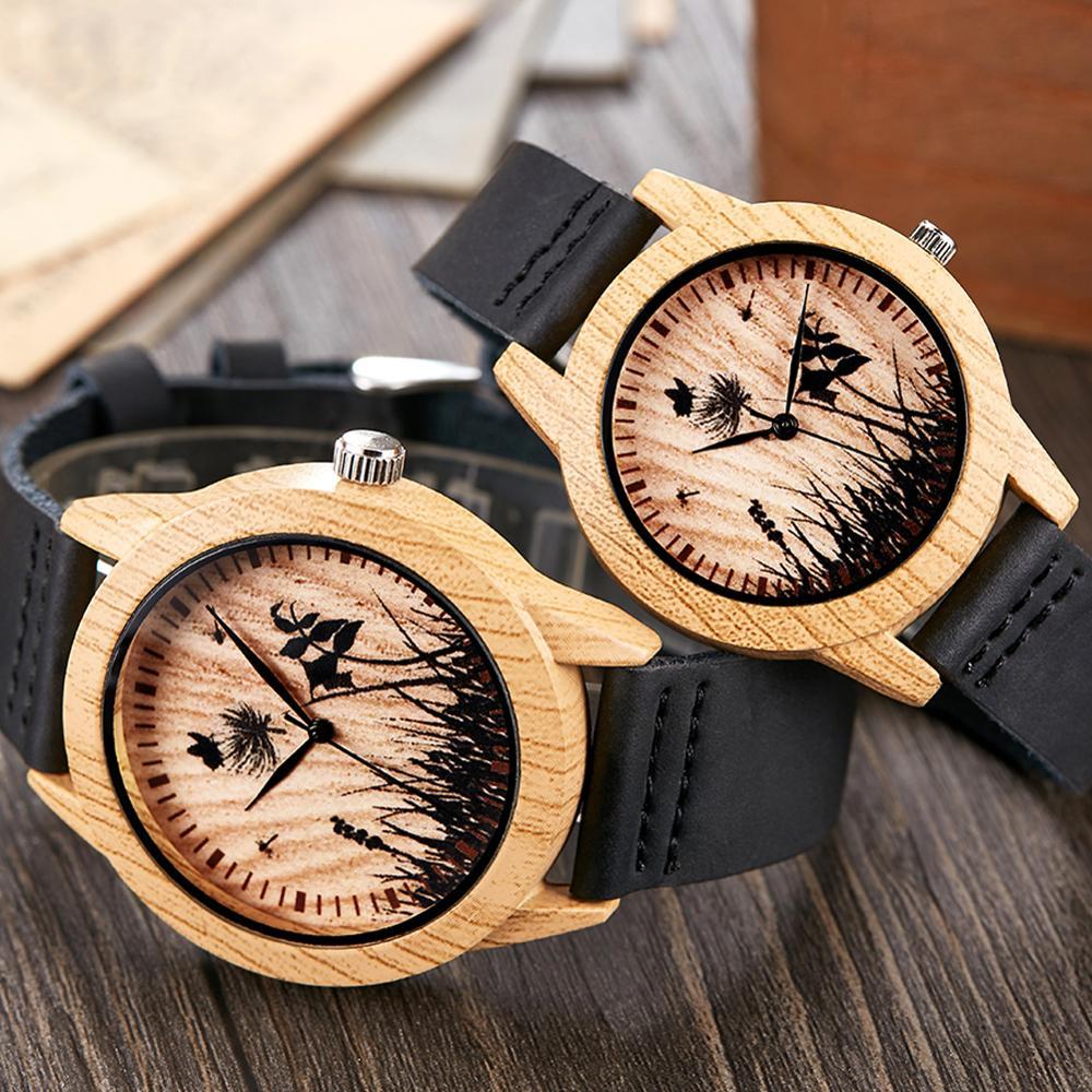 Creative Wood Watch Men Women Couple Quartz Imitate Bamboo Wooden Watch Minimalist Watches Soft Brown Leather Wrist Clock Reloj