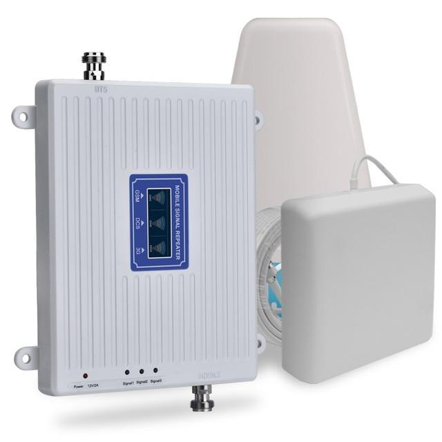70dB 2G 3G 4G Tri Band נייד אות מהדר GSM 900 DCS 1800 WCDMA 2100 נייד סלולארי אות Booster מגבר 3G 4G LTE