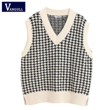 Plaid Sweater Tops Pullovers Female Waistcoat Vest Women Knitted Vangull Loose Chic Black
