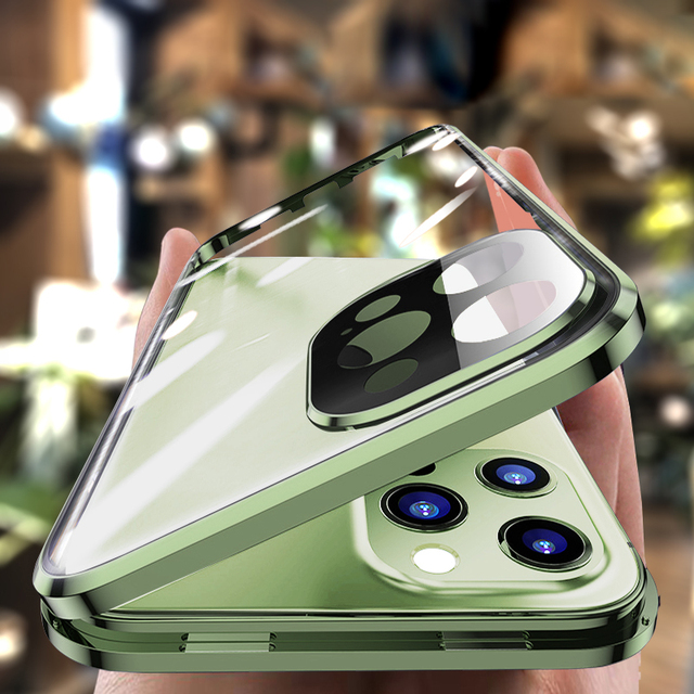 Magnetic Metal Glass Case For iPhone 12 Pro Max 12 Pro 11 Pro Max 11 Case Camera Glass Luxury Magnet 12 11 Full Protective Cover 1